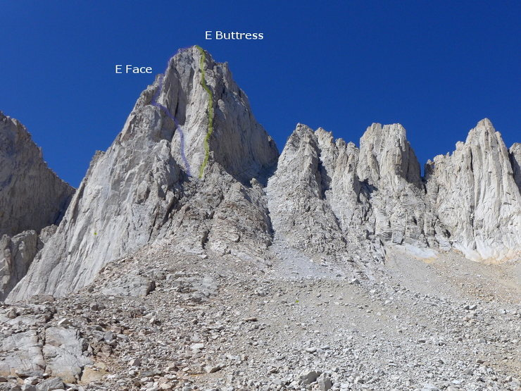 Rock Climbing Photo: approx lines of the E side routes