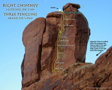 Rock Climbing Photo: Route Overlay Right Chimney Three Penguins