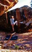 Rock Climbing Photo: Working the feet up on Norse Course.