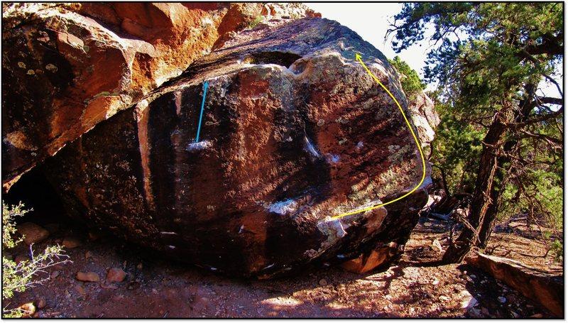 Rock Climbing Photo: Sir Silicon of Sota problem beta in yellow.
