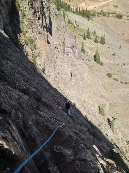Hardrock Miner looking down at the belay for pitch 4. This was my favorite pitch.