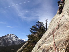 Rock Climbing Photo: Dusty on the 2nd pitch mini-traverse, stellar earl...