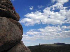 Rock Climbing Photo: Midway on Supercalibelgolistic (5.9), Holcomb Vall...