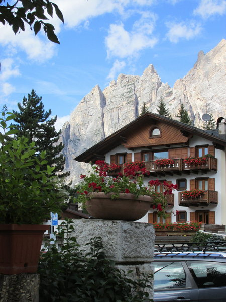 Punta Fiames, 50 years later, from my Hotel in Cortina.