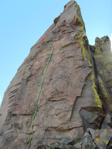 "Great potential here for a HARD line on great rock (see green)!  Takes ""small"" gear prior to exiting left to African Drag Queen anchor (red). I would be happy to belay the FA.  Should go around 12-.  Help an old cragger out."