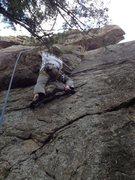 Rock Climbing Photo: Mark cruising the dirty start.