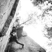 Rock Climbing Photo: Tim Coleman stemming near the top of Birch Tree Co...