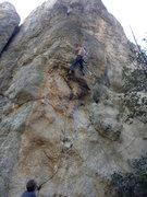 Rock Climbing Photo: JB starting final crux of Xtal Meth.  Cres on bela...