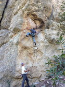 Rock Climbing Photo: Cres at the traverse.  JB on belay, photo by Josie...