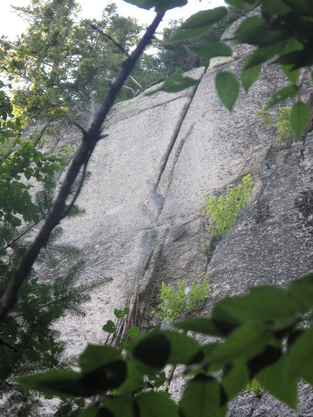 Looking up at the crack of Happy Camper