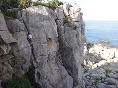 Rock Climbing Photo: Julien on the 5.8 cop-out