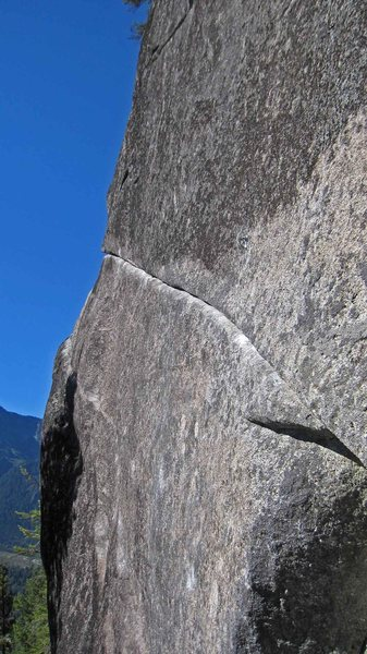 The crux of the traverse on A hatch.