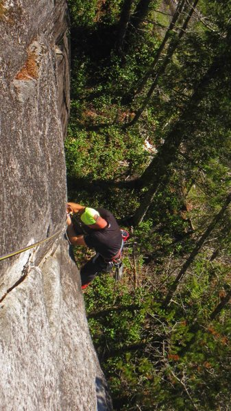 Rock Climbing Photo: Derek upon reaching the thin-hand section on A hat...