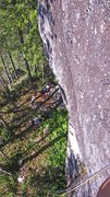 Rock Climbing Photo: Looking down at the large treed ledge below A hatc...