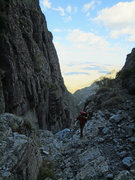 Rock Climbing Photo: Looking back at the approach. Still at least 30 mi...