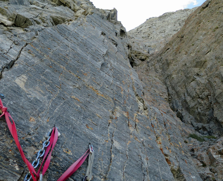 Nearing the top of the sixth pitch. This view is from the top of the fourth pitch (we linked pitches five and six).<br> <br> The sixth pitch, although &quot;only&quot; 5.8, is quite serious.