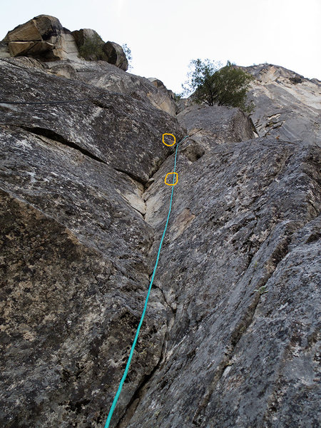 The 1st pitch from the belay.<br> <br> The 1st and the 2nd bolt are outlined.
