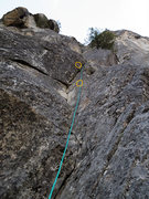 Rock Climbing Photo: The 1st pitch from the belay.  The 1st and the 2nd...