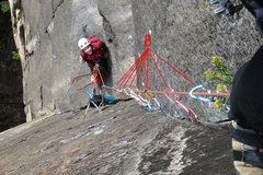 Rock Climbing Photo: The crux corner on P.2 of Chitlin Corner (5.10). T...