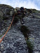 Rock Climbing Photo: Rob Beno leading P4 of the Timex Route. This photo...