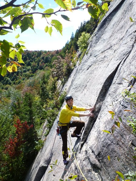 Rock Climbing Photo: Kyle finishes the first pitch of Superman Flake.