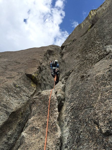 Rock Climbing Photo: Rob Beno leading P6 (per description) of the South...