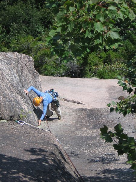 Rock Climbing Photo: The excellent corner of the second pitch.  The sla...