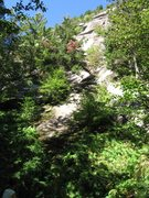 Rock Climbing Photo: Looking up the route from the base.  The upper tri...