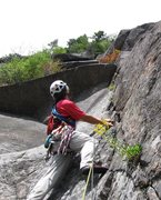 Rock Climbing Photo: Looking up the 3rd pitch.  The first roof is the r...