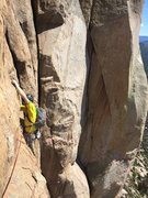 Rock Climbing Photo: Nick coming up the final traverse bit on pitch 3. ...