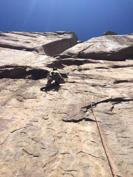 Rock Climbing Photo: Nick hitting the jug on the spicy face pitch(4).  ...