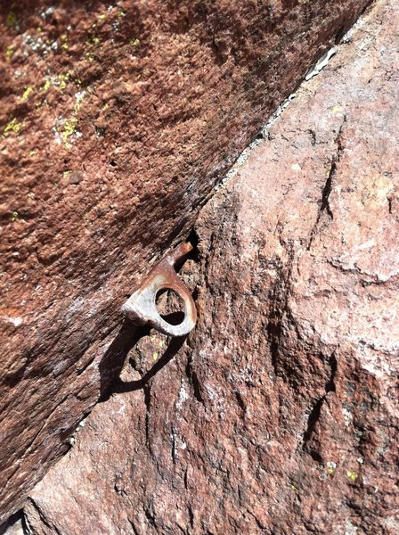 The crux piton on P3 of Rincon.  Photo taken on 9/15/2014.<br> Seemed ok but not bomber.