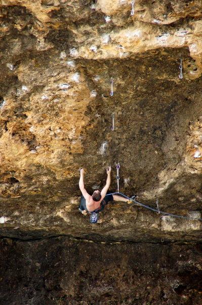 Rock Climbing Photo: Sean attacking the crux