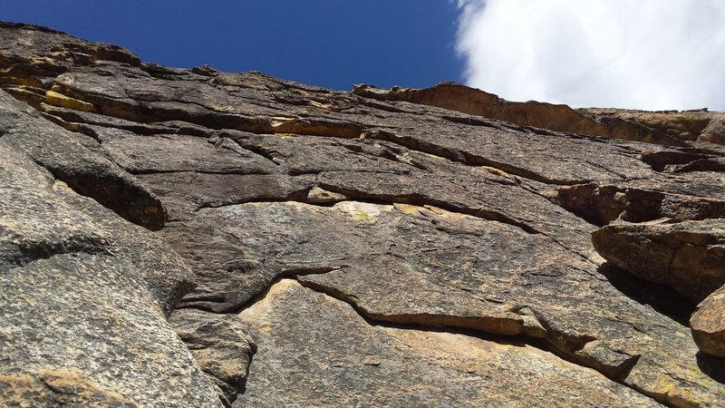 Rock Climbing Photo: View from the ground.  The first pitch goes up the...