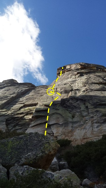 Rough line of the climb.  The beginning is around the left in the corner below the roof.
