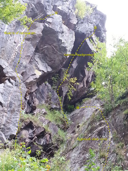 Seen from the toe of the cliff.<br> The line on the right is the slab climb to get to Karmic. The one on the left is Visions of Jeruslem. Karmic is in the middle.