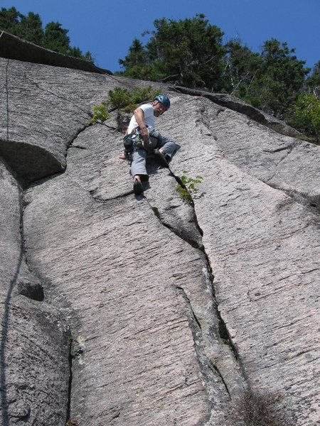 Rock Climbing Photo: Beautiful striated pink granite on the top pitch.