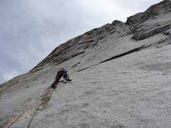 Rock Climbing Photo: Casey makes quick work of the 2nd pitch with the w...