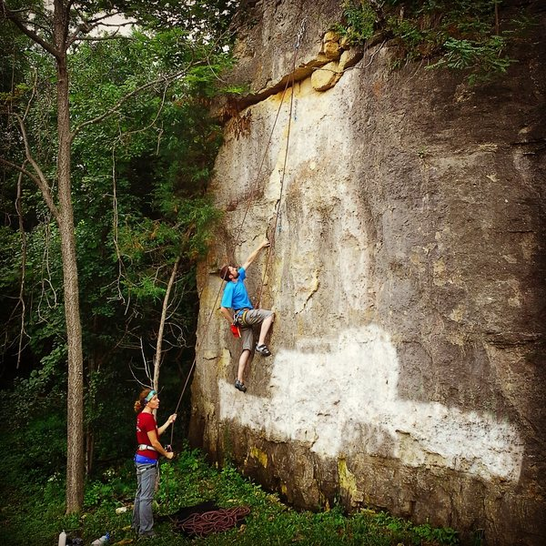 Paul top roping the route summer 2014