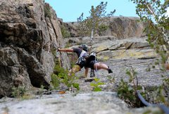 Rock Climbing Photo: Izzie placing a nut and working her way up the rig...