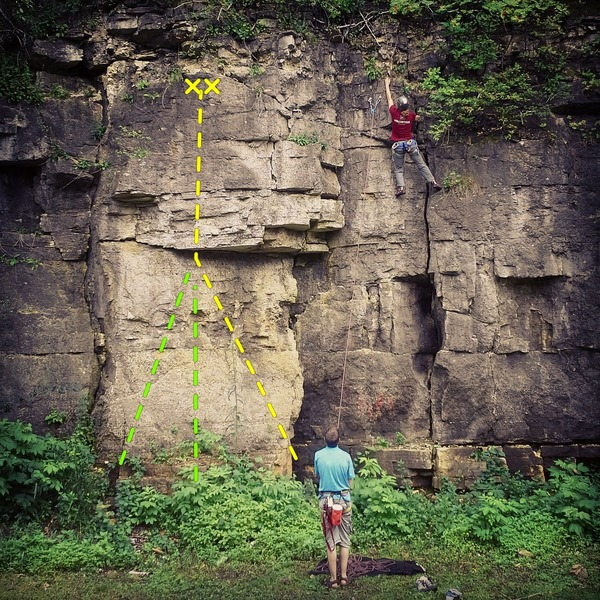 Rock Climbing Photo: Added for route map - yellow line was route taken ...