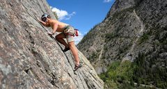 Rock Climbing Photo: Working up past the third bolt.