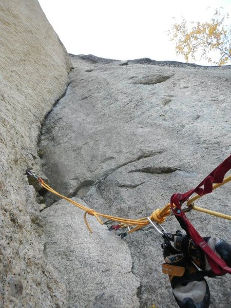 Looking up at the crux on Pitch 3.