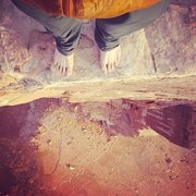 Rock Climbing Photo: Looking down off of Castleton Tower, Moab, UT.