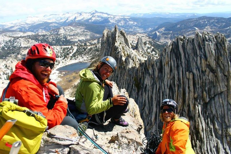 he crew on top of the North summit of the Matthes Crest traverse