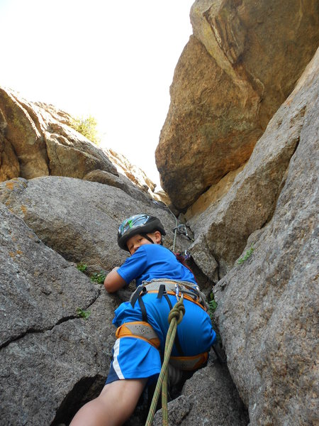 Rock Climbing Photo: Evan on the Staircase in Eleven Mile Canyon