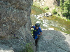 Rock Climbing Photo: Evan nearing the top of the Staircase.  This was h...