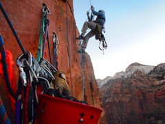 Rock Climbing Photo: Ascending pitch 6 in the early AM...fixed lines th...
