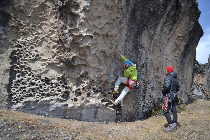 A warm up on a traverse in Hatun Machay, Peru.