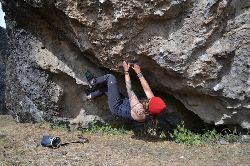 Attempting a V7 in Hatun Machay, Peru. Just attempting, nothing else!